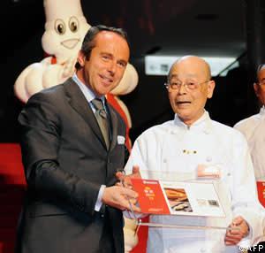 Michelin director Jean-Luc Naret introduces three star sushi chef Jiro Ono of Sukiyabashi Jiro