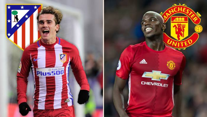 da004710a8a Atletico Madrid s Antoine Griezmann and Paul Pogba of Manchester United.  Atletico outperformed expectations based on the money they spent © FT  montage  ...