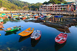 Boats moored in the harbour on Cheung Chau island