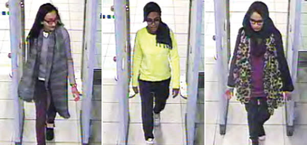CCTV pictures from February last year of three teenagers from east London who left Britain to join Isis