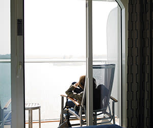 Lucy Kellaway relaxing in a deckchair