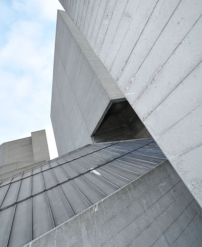 LONDON, UNITED KINGDOM - MARCH 9: Detail of the Brutalist architecture of the Hayward Gallery building in London taken on March 9, 2009. (Photo by Will Ireland/SFX Magazine via Getty Images)