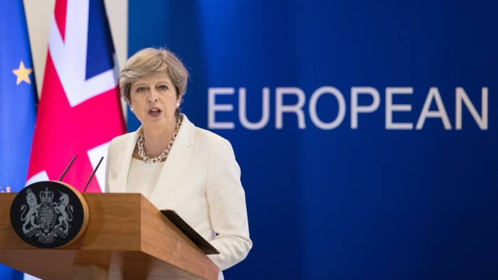 Theresa May, U.K. prime minister, speaks during a news conference at the European Union (EU) leaders summit at the Europa building in Brussels, Belgium, on Friday, June 23, 2017. Citizens' rights is one of the main issues that the EU and U.K. need to resolve before trade talks can be broached leading up to Britain's March 2019 exit from the bloc. Photographer: Jasper Juinen/Bloomberg