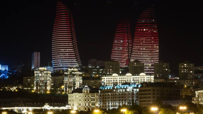 Flame Towers in Baku ID 40323940 © Alexander Melnikov | Dreamstime.com Night Baku Azerbaijan caspian sea