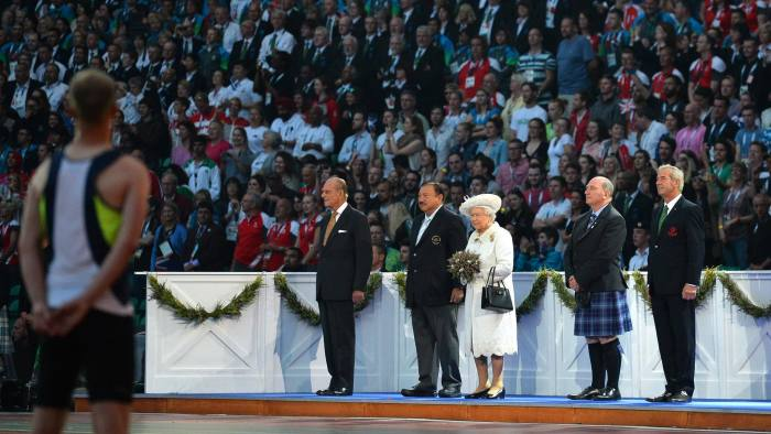 Prince Philip and the Queen with other dignitaries at the opening of Glasgow's Commonweatlth Games