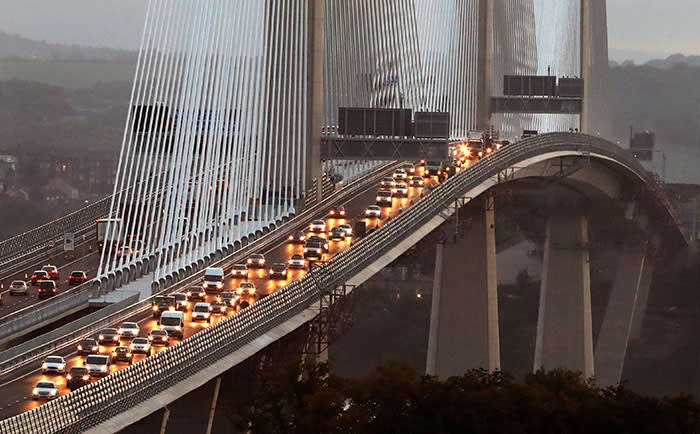 Traffic flows on both carriageways of the Queensferry Crossing this morning after it opened to traffic for the first time. PRESS ASSOCIATION Photo. Picture date: Wednesday August 30, 2017. The new bridge, which crosses the Firth of Forth, is the world's longest three tower cable-stay bridge. See PA story TRANSPORT Crossing. Photo credit should read: Andrew Milligan/PA Wire