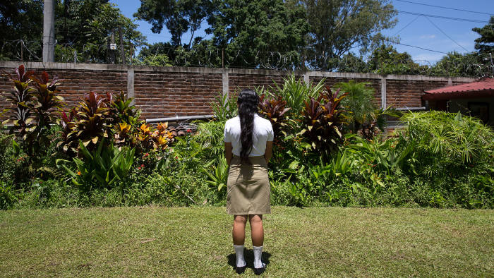 Safe space: Cecilia, 17, in the garden of a centre for youth education in Valle de San Andres, El Salvador