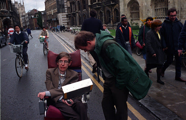 Stephen Hawking, pictured in 1987 in Cambridge