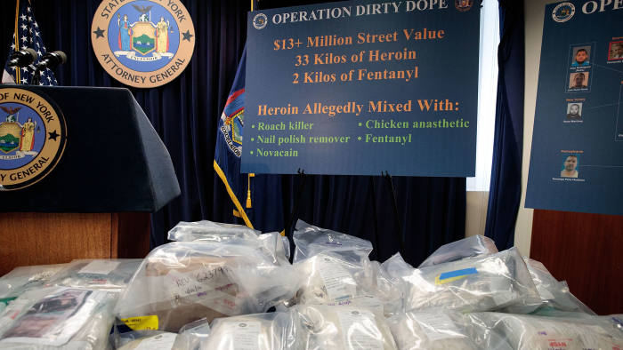 NEW YORK, NEW YORK - SEPTEMBER 23: Bags of heroin are displayed before a press conference regarding a major drug bust, at the office of the New York Attorney General, September 23, 2016 in New York City. New York State Attorney General Eric Scheiderman's office announced Friday that authorities in New York state have made a record drug bust, seizing 33 kilograms of heroin and 2 kilograms of fentanyl. According to the attorney general's office, it is the largest seizure in the 46 year history of New York's Organized Crime Task Force. Twenty-five peopole living in New York, Massachusetts, Pennsylvania, Arizona and New Jersey have been indicted in connection with the case. (Photo by Drew Angerer/Getty Images)