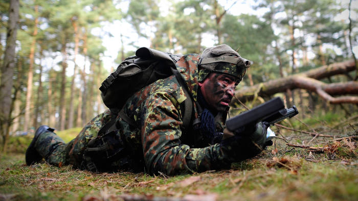 Kurdish peshmerga fighters are seen during a Bundeswehr training session on March 1, 2016 in Munster, Germany. The Bundeswehr is supporting Kurdish peshmerga as well as Iraqi security forces with military training and weaponry to help them fight against the Islamic State (IS) in Iraq