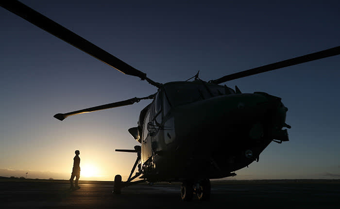 PABEST Air Trooper Toby Tibbitts from 657 Squadron makes final checks on one of the Army Air Corps' last remaining Lynx Mk9 helicopters at RAF Odiham in Hampshire before a commemorative tour to mark the helicopter's decommissioning from British Army service. PRESS ASSOCIATION Photo. Picture date: Tuesday January 16, 2018. See PA story DEFENCE Lynx. Photo credit should read: Andrew Matthews/PA Wire