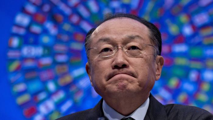 Jim Yong Kim, president of the World Bank Group, listens to a question at a news conference during the spring meetings of the International Monetary Fund and World Bank in Washington, D.C., U.S., on Thursday, April 14, 2016. Risks to global financial stability are rising as growth slows and commodity prices fall, posing the danger of an eventual stagnation in credit that saps world output, the IMF said yesterday. Photographer: Andrew Harrer/Bloomberg