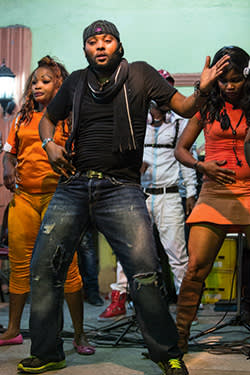 Dancers in Felix Wazekwa's ensemble rehearse at the Gillette d'Or music bar