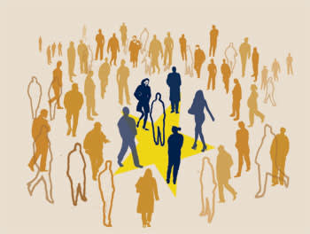 Illustration of silhouettes of people walking towards a yellow star in the centre