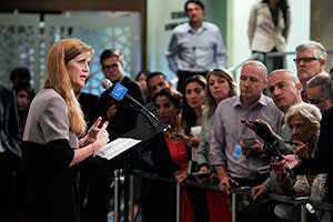 Samantha Power at a press conference on Syria in New York, September 5
