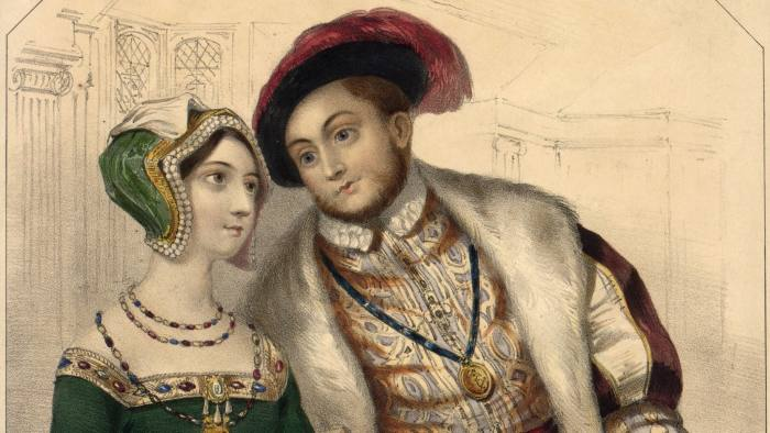 Circa 1535, King Henry VIII of England (1491 - 1547) and his second wife, Anne Boleyn (1507 - 1536). He had broken with the papacy following the divorce of his first wife, Catherine of Aragon in 1533. Anne Boleyn was beheaded in 1536 and Henry married Jane Seymour. (Photo by Hulton Archive/Getty Images)