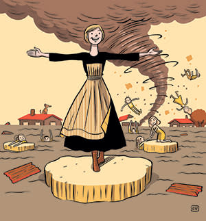 Illustration showing Julie Andrews in The Sound of Music amid the floods
