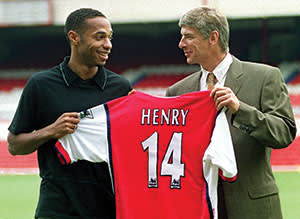 Thierry Henry (left) with Arsenal coach Arsène Wenger