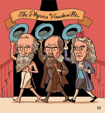 An illustration by Lucas Varela depicting Archimedes, Galileo Galilei and Isaac Newton
