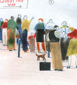 Illustration by Laura Carlin of people talking in a queue