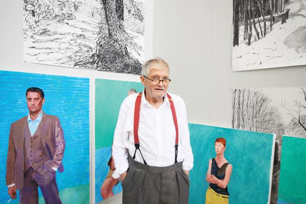 Hockney in his Los Angeles studio