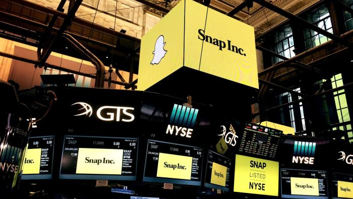 New York Stock Exchange before the initial public offering of Snap Inc, the parent company of Snapchat, at the New York Stock Exchange in New York