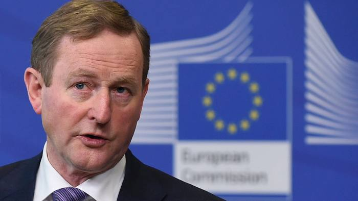 Irish Prime minister Enda Kenny speaks during a joint press conference with President of EU Commission following their meeting at the European Union headquarters, in Brussels, on February 23, 2017. / AFP PHOTO / JOHN THYSJOHN THYS/AFP/Getty Images