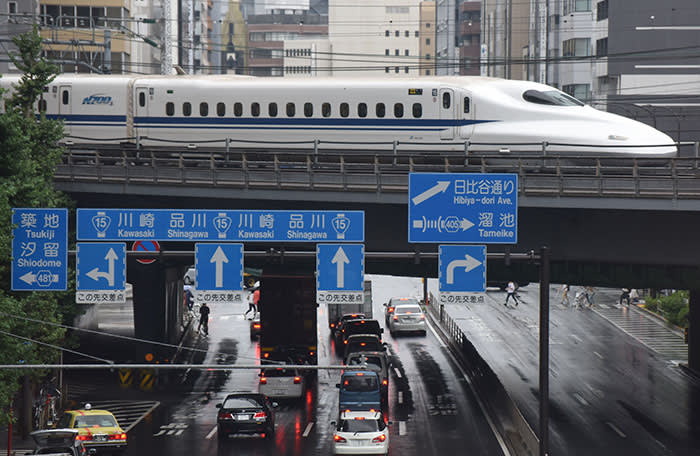 A Shinkansen bullet train moves on tracks above traffic in Tokyo on August 14, 2017. Japan's economy grew 1.0 percent in the April-June period, notching up its sixth straight quarter of growth and its longest economic expansion in over a decade, government data showed on August 14. / AFP PHOTO / KAZUHIRO NOGI (Photo credit should read KAZUHIRO NOGI/AFP/Getty Images)