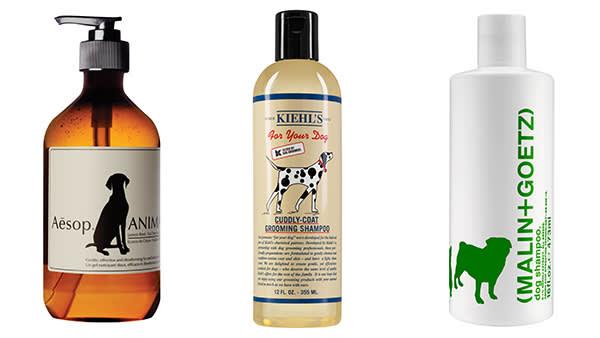Aesop animal wash, £25, aesop.com; Kiehl's grooming shampoo, $17, kiehls.com (only available in the US); Malin + Goetz dog shampoo, £22, spacenk.com