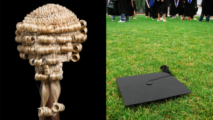 Lawyer's wig and mortar board