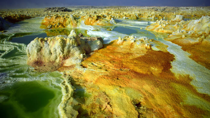 DALLOL, ETHIOPIA - JANUARY 23: Part of a sulphur lake is pictured in the Danakil Depression on January 23, 2017 near Dallol, Ethiopia. The depression lies 100 metres below sea level and is one of the hottest and most inhospitable places on Earth. Despite the gruelling conditions, Ethiopians continue a centuries old industry of mining salt from the ground by hand in temperatures that average 34.5 degrees centigrade but have risen to over 50 degrees. (Photo by Carl Court/Getty Images)