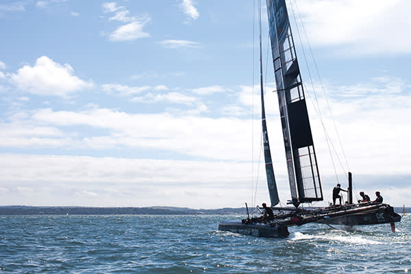 Sir Ben Ainslie and his team practise on one of their test boats on the Solent, ahead of the Portsmouth races on July 23 and 24