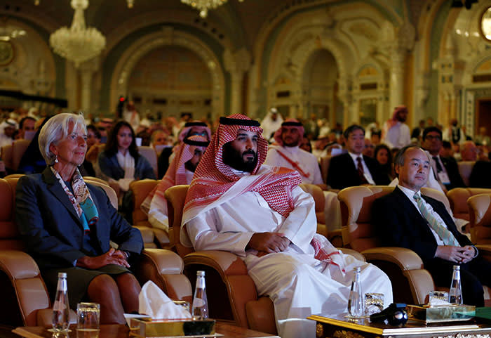 Saudi Crown Prince Mohammed bin Salman, Masayoshi Son, SoftBank Group Corp. Chairman and CEO, and Christine Lagarde, International Monetary Fund (IMF) Managing Director, attend the Future Investment Initiative conference in Riyadh, Saudi Arabia October 24, 2017. REUTERS/Faisal Al Nasser - RC1D30FB7500