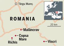 Map of a region in Romania