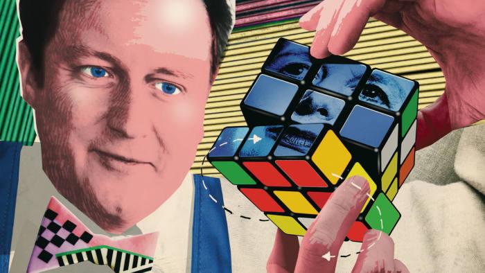illustration of David Cameron and a Rubik's Cube