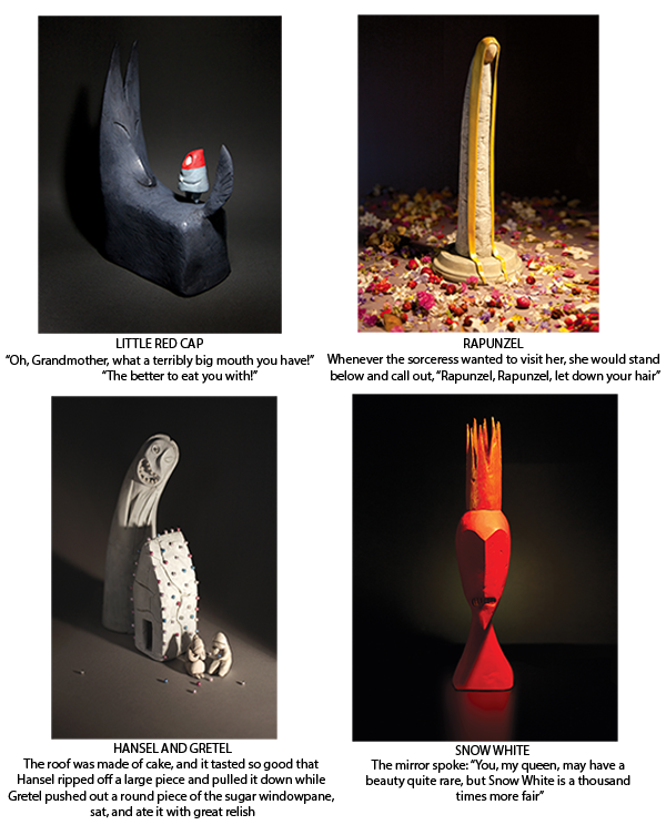 Some of the clay sculptures in 'The Singing Bones'