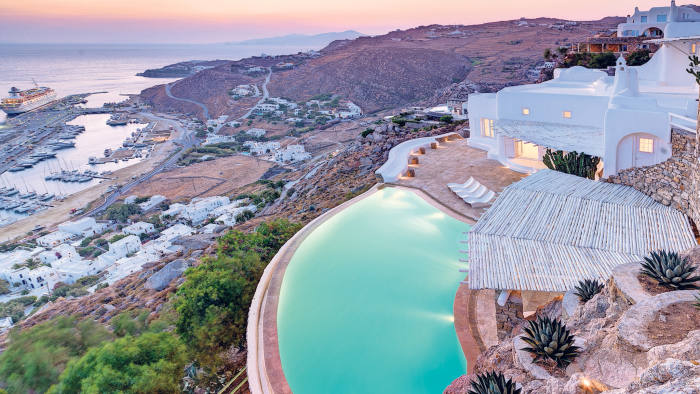 A 650 sq metre seafront villa on Mykonos, with an infinity pool and views of three nearby islands, is priced at €6.2m