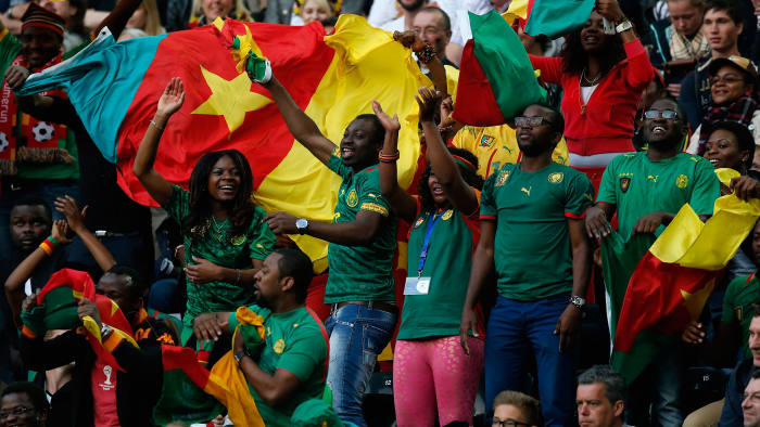 Cameroon fans at a friendly match against Germany on June 1 2014, which drew 2-2