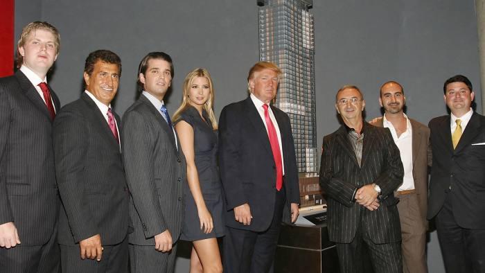 Eric Trump, Tevfik Arif, Donald Trump Jr, Ivanka Trump, Donald Trump, Tamir Sapir, Alex Sapir and Julius Schwarz at the Trump Soho launch in 2007 (Photo by Mark Von Holden/WireImage)