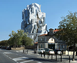 An impression of the new Frank Gehry structure in Arles