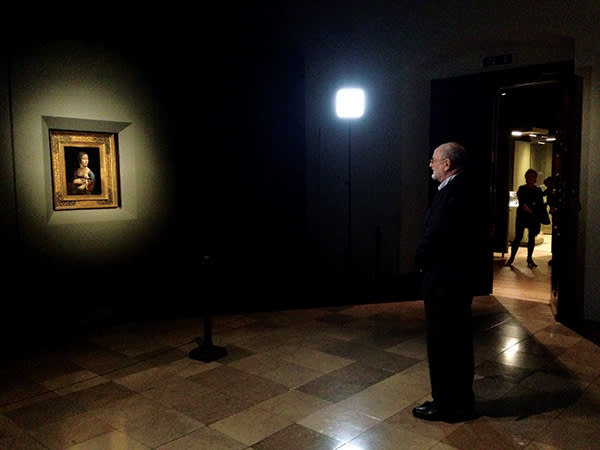 Niklas Frank gazes at Leonardo da Vinci's 'Lady with an Ermine' in Krakow's Wawel castle. He had last seen it aged five in his father's quarters