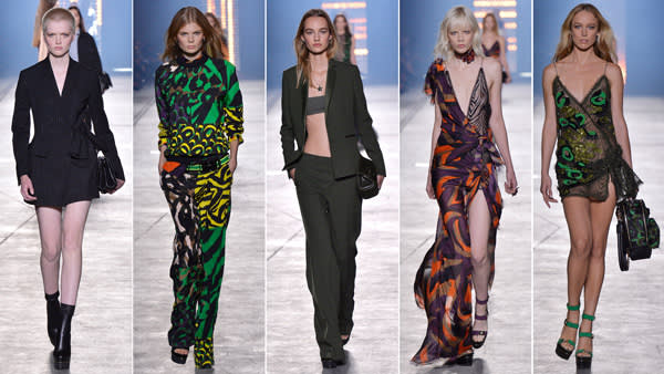 Models wearing Versace SS16 creations