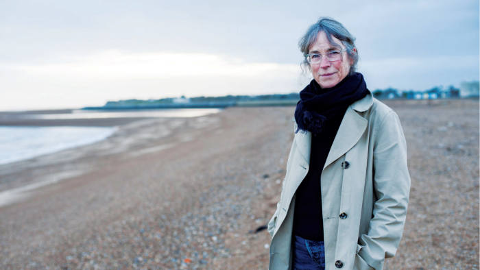 Margaret Howell on the beach near her home in Suffolk, England