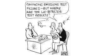 """""""Convincing emissions test figures - but where are the lie-detector test results?"""""""