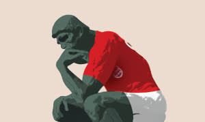 Illustration by Luis Grañena of 'The Thinker' dressed in a football uniform
