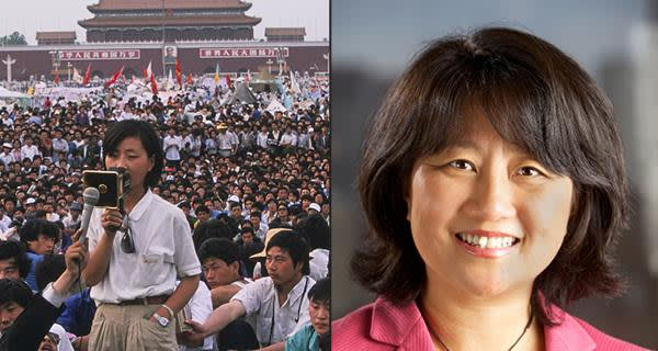 Chai Ling, then a firebrand student leader in Tiananmen Square, and now a businesswomen in the US