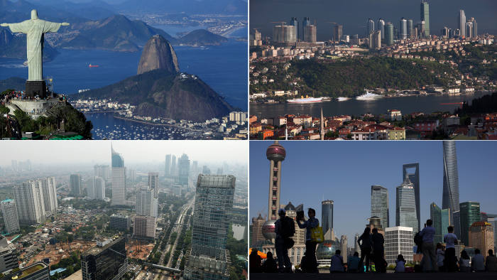 Emerging markets: Clockwise from top left, Brazil, Turkey, China and Indonesia