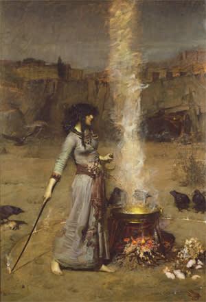 The Magic Circle' (1886) by John William Waterhouse