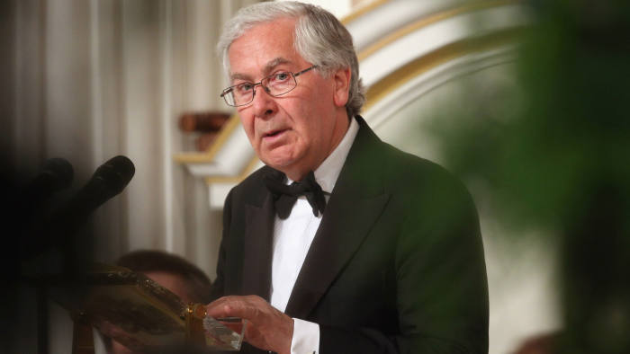 Governor of the Bank of England, Mervyn King, addresses the audience of the 'Lord Mayor's Dinner to the Bankers and Merchants of the City of London' at the Mansion House on June 19, 2013 in London, England.