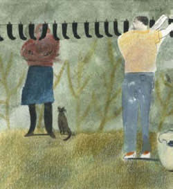 An illustration of a man hanging up socks while a woman with a cat by her feet looks on